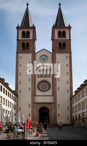 Cathedral of St. Kilian or Wuerzburg Cathedral, Wuerzburg diocese, Kardinal-Doepfner-Platz square, Wuerzburg, Bavaria - Stock Photo