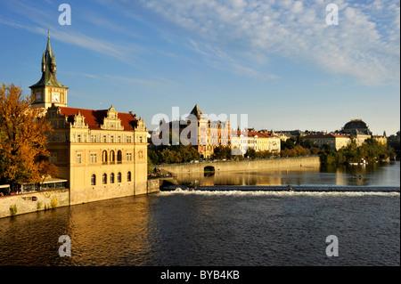 Vltava river, Smetana Museum in the former waterworks, water tower, Smetana quay, Prague, Bohemia, Czech Republic, - Stock Photo