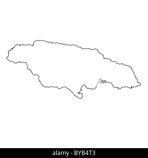 Jamaica outline silhouette map illustration with parishes Stock