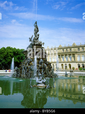 Latonabrunnen fountain in front of Schloss Herrenchiemsee Castle, Upper Bavaria, Germany, Europe - Stock Photo