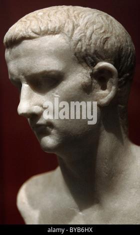 Caligula, Gaius Julius Caesar (12-41). Roman Emperor (37-41). Bust. Found in the Tiber river. Marble. - Stock Photo