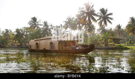 Luxury house boat on a canal, backwater, Haripad, Alleppey, Kerala, India, Asia - Stock Photo