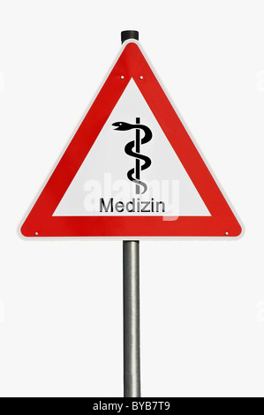 Danger sign, Medizin, German for medicine, staff of Aesculapius, risk, hazard, symbolic image for spiralling costs - Stock Photo