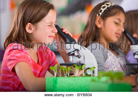 Serious students peering into microscopes in science classroom - Stock Photo