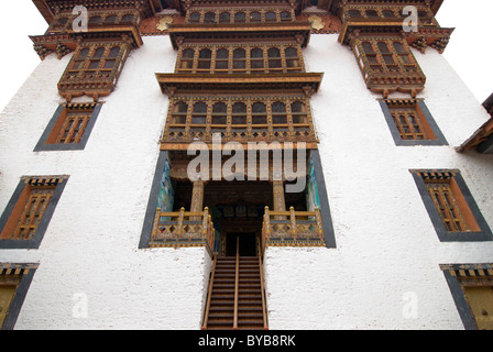 Dzong, Buddhist monastery fortress of Punakha, Bhutan, Asia - Stock Photo