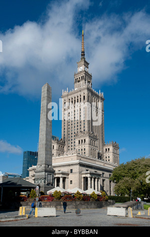 Palace of Culture and Science, high-rise building in a wedding-cake style, landmark, Warsaw, Mazowieckie, Poland, - Stock Photo