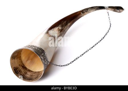 Drinking horn isolated on white background - Stock Photo
