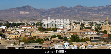 View over North Nicosia, also Lefkosa or Lefkosia, the capital of Northern Cyprus, Turkish Cyprus, South Eastern - Stock Photo