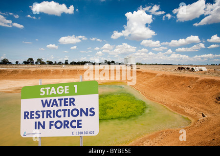A farmers watering hole on a farm near Shepperton, Victoria, Australia, almost dried up. - Stock Photo