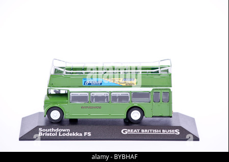 A toy model double decker bus on a white background - Stock Photo