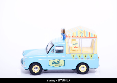 A toy model walls ice cream van on a white background - Stock Photo