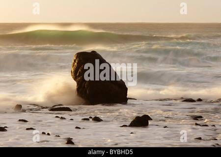 Rock in the surf, waves in the Atlantic, La Playa, Valle Gran Rey, La Gomera, Canary Islands, Spain, Europe - Stock Photo
