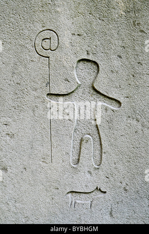 Pilgrim with a pilgrim's staff, sign on the Way of St. James, Gernika Lumo, Guernica, Bizkaia province, Pais Vasco - Stock Photo