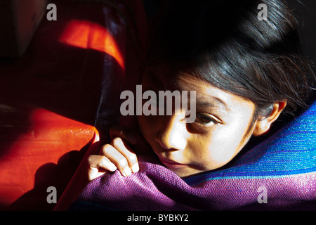 Young girl in the Mercado Municipal, San Cristobal de las Casas, Chiapas, Mexico - Stock Photo