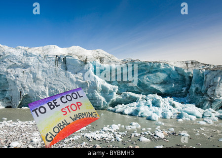 The Russells Glacier draining the Greenland icesheet inland from Kangerlussuaq on Greenlands west coast. - Stock Photo