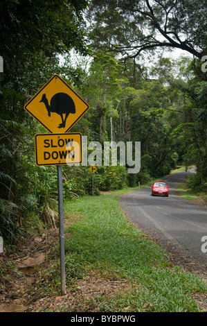 A sign warning drivers of Cassowary birds on the road Queensland Australia - Stock Photo