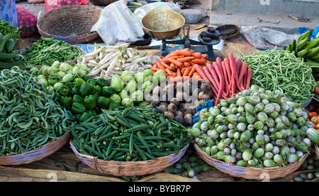 Indian vegetables in baskets at a rural village market, Andhra Pradesh, India. - Stock Photo