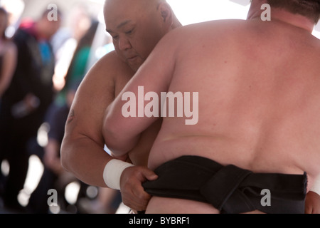 Mark Reiman grappling with Americus Abesamis at a Sumo wrestling demonstration at the Little Tokyo Cherry Blossom - Stock Photo