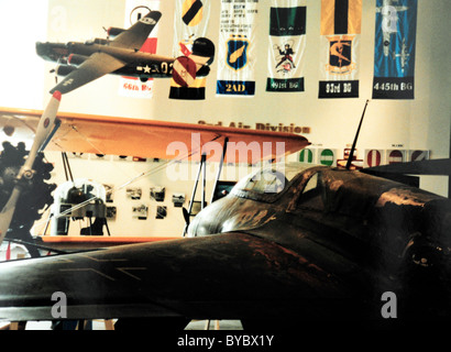 Interior of Mighty 8th Air Force Museum looking over should of world's first jet fighter, Messerschmitt Me 262 with - Stock Photo