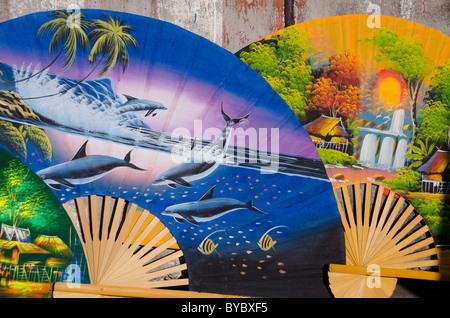 Thailand, Phuket. Typical Thai souvenir fans. - Stock Photo