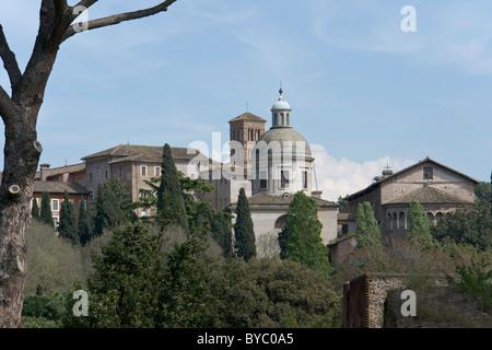 Church Santi Giovanni e Paolo on the Caelian hill in Rome. - Stock Photo
