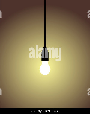white light bulb on brown background. Concepts of light, idea, brilliant, intelligence. - Stock Photo