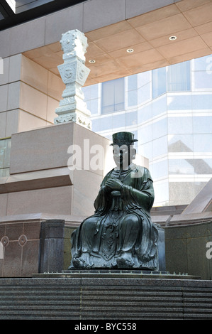 Chinese statue at the entrance to the Crow Collection of Asian Art, Dallas, Texas, USA - Stock Photo