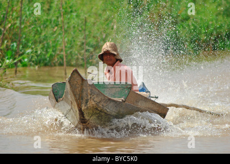Motor boat on Tonle Sap lake, Cambodia - Stock Photo