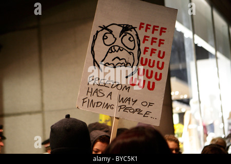 protest banner outside Topshop Oxford Street - Stock Photo