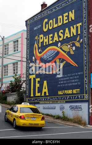Golden Pheasant Tea Advertising Mural Recreation By Derek Holmes And April Norman In Downtown St John`s Newfoundland - Stock Photo
