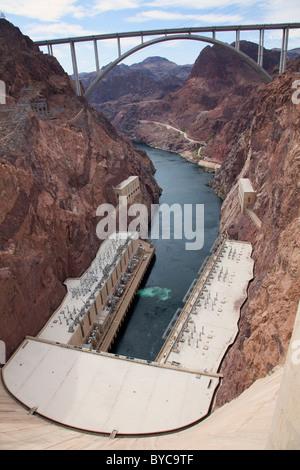 Hoover Dam and the Mike O'Callaghan – Pat Tillman Memorial Bridge, Mojave Desert, Nevada - Stock Photo
