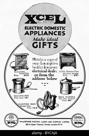 1920s advertisement in consumer magazine for XCEL DOMESTIC APPLIANCES - Stock Photo