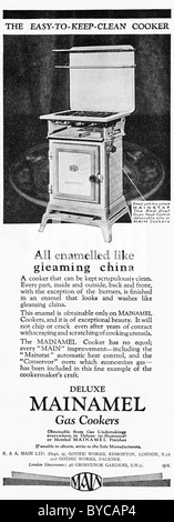 Original 1920s advertisement in consumer magazine for MAIN GAS COOKERS - Stock Photo