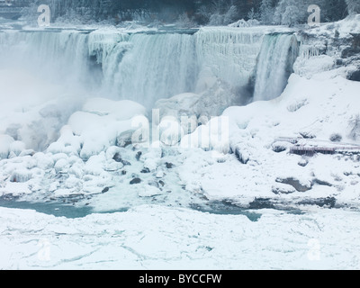 Niagara Falls American waterfall wintertime scenic. As seen from Canadian side. - Stock Photo