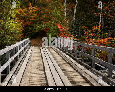 Wooden bridge over a river. Countryside fall nature scenery. Oxtongue river, Algonquin, Muskoka, Ontario, Canada. - Stock Photo