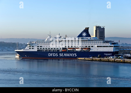 DFDS Seaways car and passenger ferry Pearl Seaways moored at its berth in Oslo harbour Norway - Stock Photo