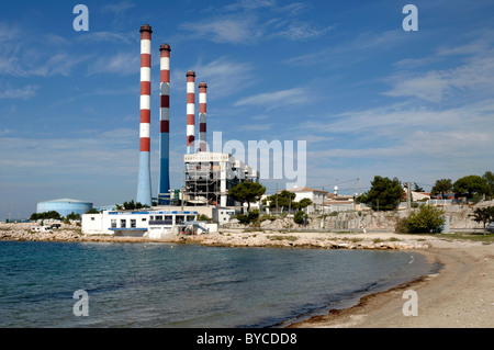 EDF French Electricity Power Station and Tall Cooling Chimneys, Ponteau, Martigues, Provence, France