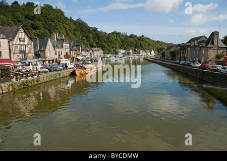 Dinan, Brittany France - on the banks of the La Rance river - Stock Photo