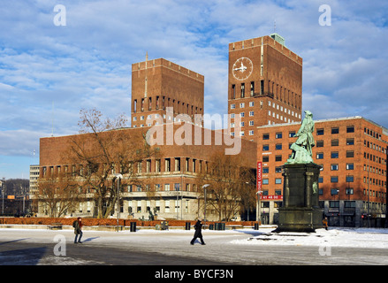 Winter view of Oslo City Hall in Oslo Norway designed by architect Arnstein Arneberg - Stock Photo