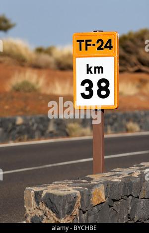 tf-24 38km roadside highway distance marker Tenerife Canary Islands Spain - Stock Photo