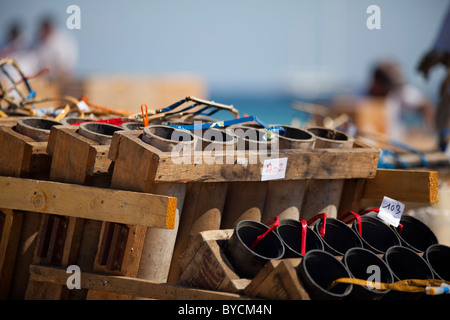 Fireworks rockets being installed on the plage de Pampelonne St Tropez to celebrate the 14th July National day in - Stock Photo