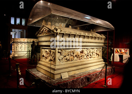 The Alexander the Great Sarcophagus from the Necropolis of Sidon, in the archaeological museum of Istanbul, Turkey - Stock Photo