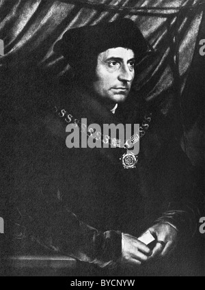 Portrait painting of English author + statesman Sir Thomas More (1478 - 1535) by Hans Holbein the Younger (c1497 - Stock Photo