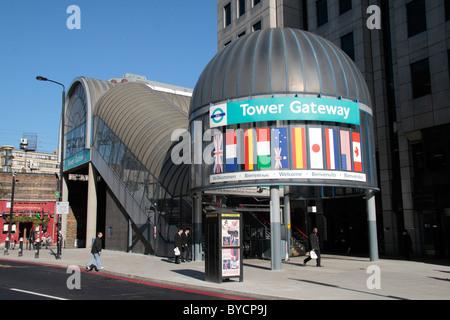 Entrance to Tower Gateway Docklands Light Railway (DLR) station, London, UK. - Stock Photo