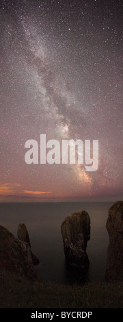 Milky Way - Elegug Stacks, Pembrokeshire, Wales, UK : As seen in Daily Mail, Telegraph - Stock Photo
