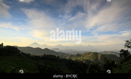 Bwindi and Virunga mountains, Uganda, Africa - Stock Photo