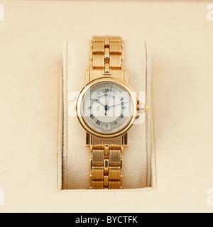 Breguet Marine Ladies' Automatic Self Winding Yellow Gold 26mm Wrist Watch on Bracelet. Model Ref. 8400BA-12-A40. - Stock Photo