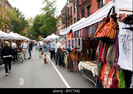 Weekend street market on Bleecker Street in Greenwich Village, New York City, USA - Stock Photo