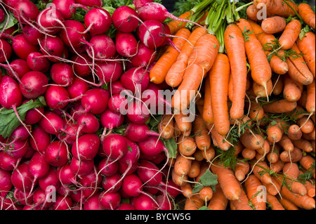 Radishes and carrots on vegetable market stall - Stock Photo