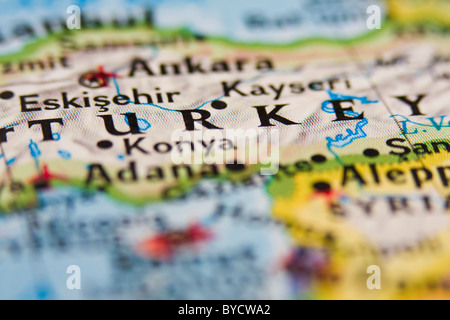 Turkey on the Map with Selective Focus. Stock Photo